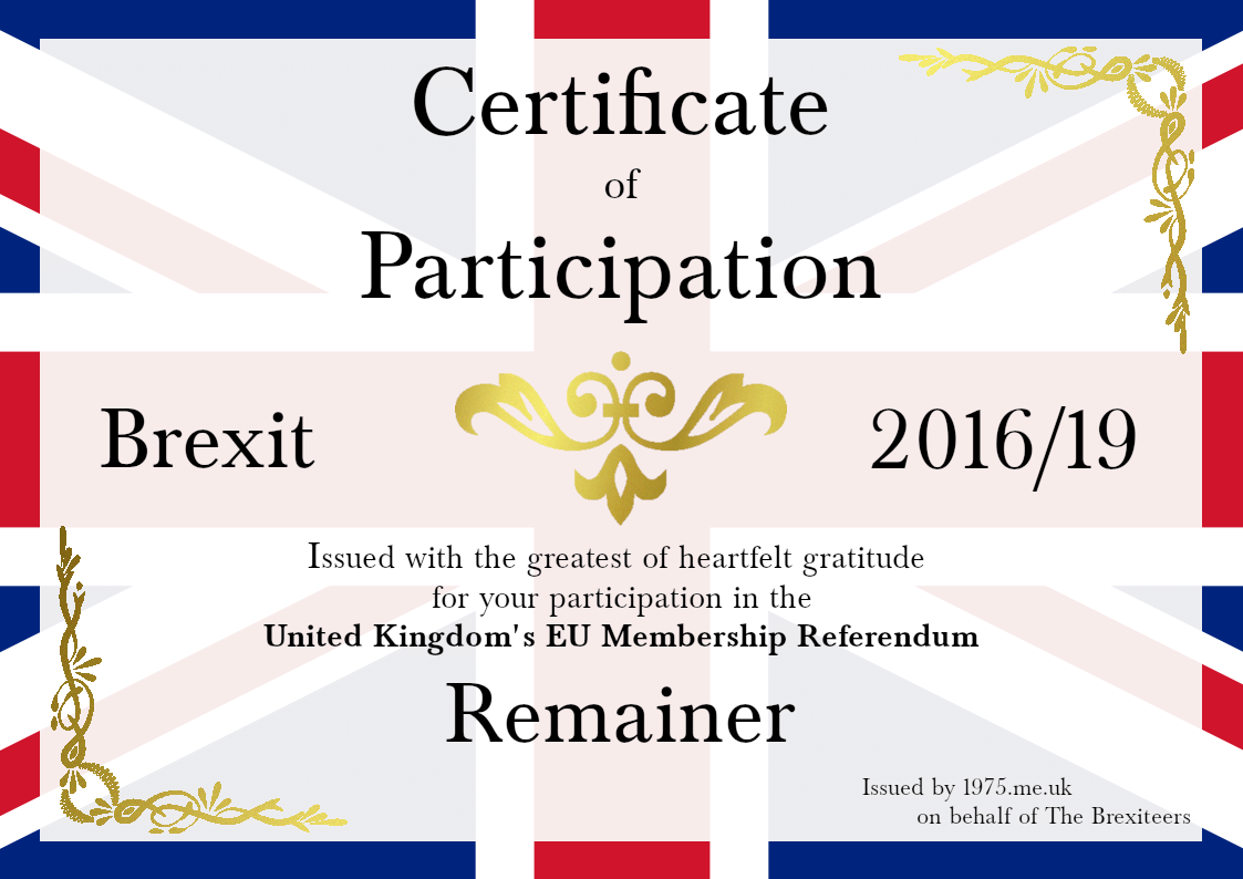 Brexit Participation Award for Remainers. Right-click to download.